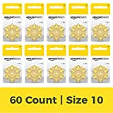 AmazonBasics Size 10 Hearing Aid Batteries, 60-Pack
