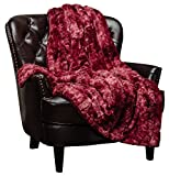 Chanasya Faux Fur Throw Blanket | Super Soft Fuzzy Light Weight Luxurious Cozy Warm Fluffy Plush Hypoallergenic Blanket for Bed Couch Chair Fall Winter Spring Living Room (50' x 65') - Maroon