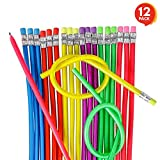 ArtCreativity 13 Inch Flexible Bendy Pencils for Kids - 12 Pack - Fun and Functional Long Bendable Writing Pencils - Birthday Party Favor, Goodie Bag Fillers, Classroom Gifts, Back to School Supplies