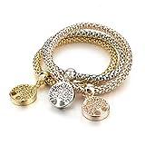 Long Way 3Pcs Gold Silver Rose Gold Plated Charm Bracelet for Women Stretch Crystal Multilayer Bracelet