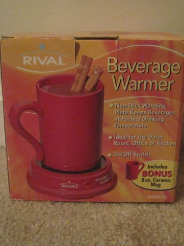 Rival BW8M-RD Red Beverage Warmer with 8 oz mug