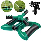 Homemaxs Lawn Sprinkler 3 Arm with Impact Sprinkler, Automatic 360 Degree Rotating, Adjustable Angle and Distance, Garden Water Sprinkler Lawn Irrigation System