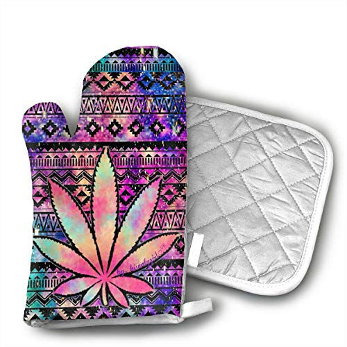 DRAMA QUEEN Oven Mitts and Pot Holders Set Colorful Weed Advanced Heat Resistant Microwave Oven Mitts Non-Slip Pot Grip Holders...
