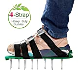 RVZHI Lawn Aerator Shoes with 4 Straps and Heavy Duty Metal Buckles - Spiked Sandals Shoes Garden Tool (Black)