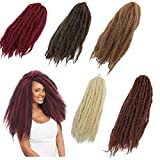 3Packs Afro Kinky Marley Braids Hair Extensions 18' Synthetic Afro Kinky Twist Crochet Braiding Hair Mixed Color Bulk Twist Crochet Braids 60g/pc Synthetic Hair For Braiding African Twist (#30)