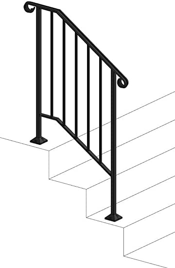 Iron X Handrail Picket 2 Brick Or Paver Steps Amazon Com | Metal Handrails For Outdoor Steps | Outside | Hand | Backyard | Wood | Contemporary