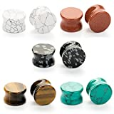 CABBE 5Pairs Stone Ear Plugs Kit Gauges 2g-20mm Saddle Expander Set Stretchers Piercing Jewelry (Gauge=00g(10mm))