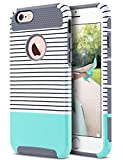 ULAK iPhone 6s Case, iPhone 6 Case, Colorful Series Slim Hybrid Dual Layer Scratch Resistant Back Cover Shock Absorbent TPU Bumper Case for Apple iPhone 6 6s 4.7 inch(Grey+Minimal Mint Stripes)