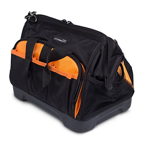 Internet's Best Soft Sided Tool Bag   14 Inch   16 Pockets   Wide Mouth Hard Base Tool Storage and Organizer Box
