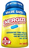 Energize Caffeine Energy Pills - Healthy Focus Brain Supplement - Improve Performance, Increase Alertness and Clarity - Smooth All Day Energy, No Jitters, No Crash - 84 Time Released Tablets