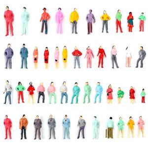 CDJX People Figurines,100 Pieces OO Scale 1:75 Mix Painted Model Train Architectural Plastic People Figures Tiny People Park Street Passenger Miniature Scenes for Kids Children 51 QaBk0PpL