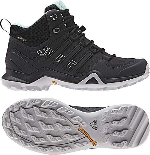 adidas outdoor Womens Terrex Swift R2 Mid GTX Hiking Boot (9.5, Black/Black/Ash Green)