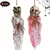Fundior Halloween Hanging Ghost Prop, Hanging Skeleton Ghost Hanging Ghost Scary Pendant Dolls for Halloween Decoration (Doll and Donkey)