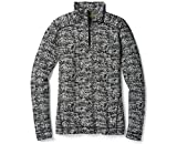 SmartWool Women's Merino 250 Baselayer Pattern 1/4 Zip Black-Moonbeam Heather M
