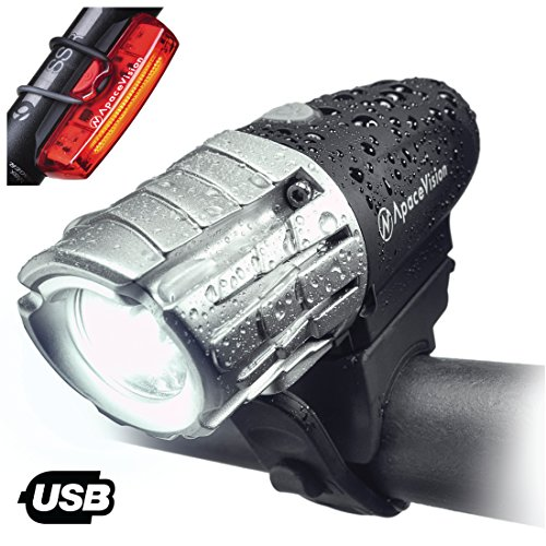 Apace EAGLE EYE-X USB Rechargeable Bike Light Set – POWERFUL 300 Lumens LED Bicycle Headlight and Tail Light- Super Bright Front Light & Rear Light for Optimum Cycling Safety