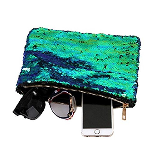 90a76cfb54 Sequin Pouch Makeup Cosmetic Bag Reversible Sequin Handbag Bling Glitter  Evening Party Mermaid Clutch ...