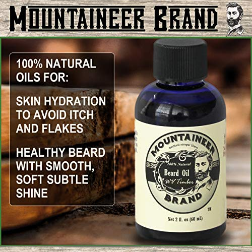 Beard Grooming Care Kit for Men by Mountaineer Brand | Beard Oil (2oz), Conditioning Balm (2oz),...