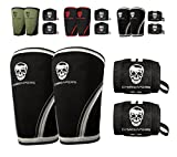 Gymreapers Elbow Sleeves (1 Pair) W/Bonus Wrist Wraps - Support & Compression for Powerlifting, Weightlifting, Bench & Tendonitis 5mm Neoprene Sleeve - for Men & Women - 1 Year Warranty (Large)