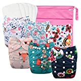 Babygoal Reusable Cloth Diapers for Girls, Adjustable Washable Nappy 6pcs+ 6pcs Microfiber Inserts+One Wet Bag 6YDG08