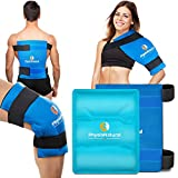 Large Flexible Gel Ice Pack & Wrap - Hot & Cold Therapy for Hip, Shoulder, Elbow, Back, Knee - Instant Pain Relief for Injuries, Recovery, Swelling, Aches, Bruises & Sprains - XL 11x14 inches (Blue)