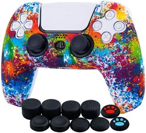 YoRHa Water Transfer Printing Silicone Thickened Cover Skin Case for Sony PS5 Dualsense Controller x 1(Spashing Paint) with Thumb Grips x 10