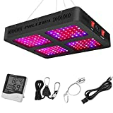Phlizon 1600W Double Switch Series Plant LED Grow Light for Indoor Plants Greenhouse Lamp Full Spectrum Growing LED Light for Veg Bloom with Thermometer Adjustable Rope (Actual Power 330watt)