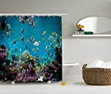 Ambesonne Ocean Decor Collection, Untouched Wild Underwater Aquatic World with Corals Exotic Fishes Seascape Picture, Polyester Fabric Bathroom Shower Curtain, Aqua Teal Yellow Navy White Green