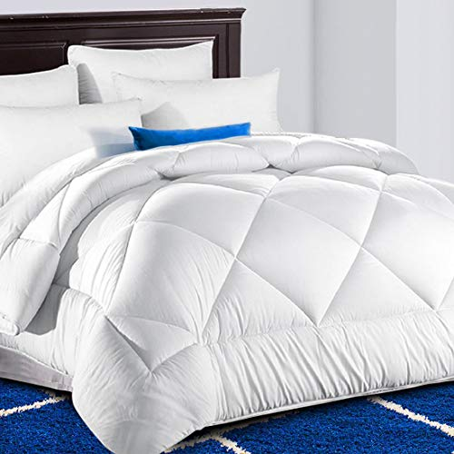 TEKAMON All Season Queen Comforter Soft Quilted  Down Alternative Duvet Insert with Corner Tabs Summer Cooling 2100 Series, Fluffy Reversible Hotel Collection, Snow White, 88 x 88 inches