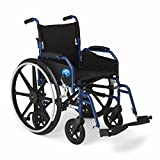 Medline Hybrid Wheelchair + Transport Chair with Removable Desk-Length Arms and Swing-Away Leg Rests, 18' Seat