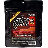 GHS Strings S335-5 Phosphor Bronze Acoustic Guitar Strings, Medium, 6 Pack (.013-.056)