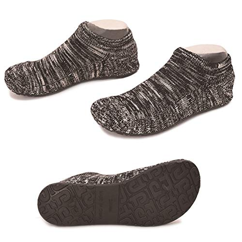 Women Slipper Socks Warm Thick Home Fuzzy Socks with Soles Rubber Bottom Non Skid Wearable (L (Shoes Size 8-9), Thick Black Low)