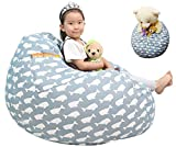 Great Eagle 44x36 Inches Extra Large 100% Cotton Canvas Kids Stuffed Animals Toys Stroage Bean Bag Chair Cover Only, Stuffed Animals Organizer for Kids(Blue/Whales)