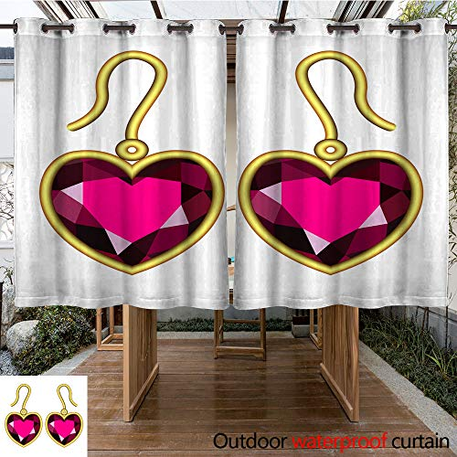 WinfreyDecor Outdoor Curtains for Patio Waterproof Ruby Earrings Mockup Realistic Style W84 x L72
