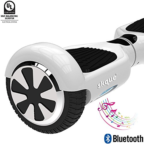 "Self Balancing Scooter, Skque 6.5"" I1.2 UL2272 Smart Two Wheel Self Balancing Electric Scooter with Bluetooth Speaker and LED Lights, White"