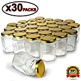 Hexagon Jars Gold Lid (30pcs 6.0 oz) Hexagon Glass Jars with 30pcs Gold Plastisol Lined Lids for Jam Honey Jelly Wedding Favors Baby Shower Favors Baby Food DIY Magnetic Spice Jars Crafts Canning Jar
