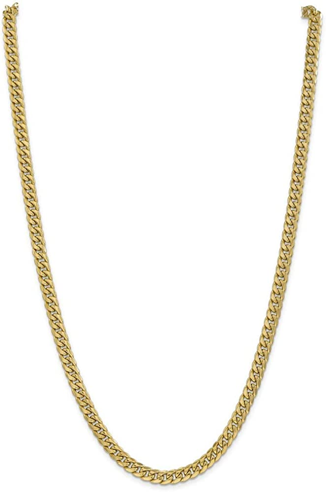 14k Yellow Gold 6mm Miami Cuban Chain Necklace 18 Inch Pendant Charm Curb Fine Jewelry For Women Gifts For Her