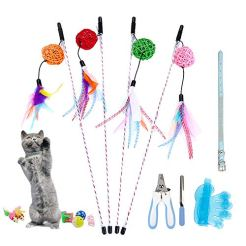 Whoobee-Cat-Toys-14PCS-Interactive-Cat-Feather-Toy-Wand-with-Balls-Chew-Toys-Sisal-Mice-Collar-Bath-Brush-Nail-Clippers-Nail-File-for-Kitten-Cats