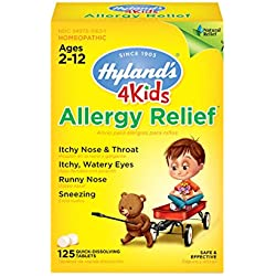 Hyland's 4 Kids Allergy Relief Tablets, Natural Relief of Indoor & Outdoor Allergies, 125 Count