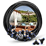 HOMENOTE Outdoor Misting Cooling System 75.46FT (23M) Misting Line 34 Brass Mist Nozzles a 3/4' Brass Adapter for Patio Garden Greenhouse Trampoline for waterpark