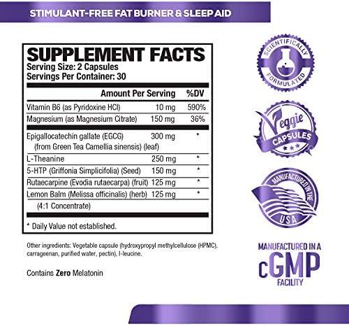 Lean PM Melatonin Free Fat Burner & Sleep Aid - Night Time Sleep Support, Weight Loss Supplement & Appetite Suppressant for Men and Women - 60 Caffeine Free, Keto Friendly Diet Pills 7