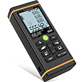 DinoFire Laser Measure 196Ft M/In/Ft Digital Laser Tape Measure, Backlit LCD Laser Distance Measure Meter, Pythagorean, Distance, Area and Volume Laser Measuring Device Tool Ruler - Pouch Included