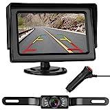 LeeKooLuu Backup Camera and Monitor Kit for Car/RV/Truck/Pickup/Van/Camper Waterproof Night Vision Rear View Camera Single Power Reverse/Continuous Use 4.3 Display Grid Lines