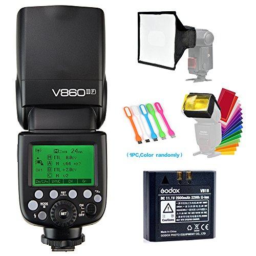 Godox V860II-F TTL GN60 2.4G High-Speed Sync 1/8000s Li-ion Battery Camera Flash Speedlite for Fujifilm Camera+15x17cm Softbox & Filter +USB LED Free Gift
