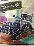 Your Zone 2-Piece Comforter & Sham Set. Blue & Purple Feathers