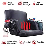 The Hot Seat | Heated Stadium Bleacher Seat |Reclining Back & Arm Support |Thick Cushion |4 Storage Pockets + Cup Holder| Extra Wide Feature | Battery Pack Not Included