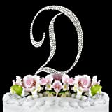 Completely Covered Swarovski Crystal Silver Wedding Cake Toppers ~ LARGE Monogram Letter D by RaeBella Weddings & Events New York