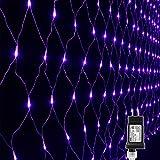 Lyhope 12ft x 5ft 360 LED Decorative Net Lights, 8 Modes Low Voltage Mesh Halloween Lights for Xmas Trees, Bushes, Wedding, Garden, Outdoor, Indoor Decor (Purple)