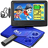 DR. J 11.5' Portable DVD Player with HD 9.5' Swivel Screen, Rechargeable Battery with Wall Charger, Car Charger and AV Cable, Sync TV Projector Function, Support USB Flash Drive SD Card, Region Free
