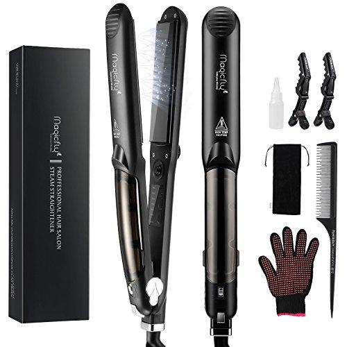 Steam Flat Iron Hair Straightener, Magicfly Professional Salon Ceramic Tourmaline Flat Iron with Vapor Heat up Fast, 360°Swivel Cord, 5 Modes For Dry & Wet Hair, Black