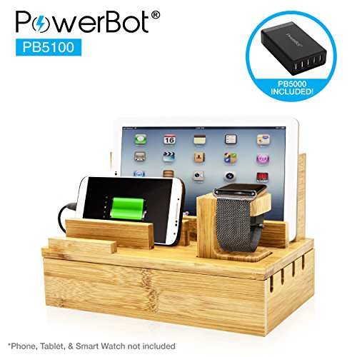 PowerBot PB5100 40Watt 8Amp 5 USB Port Rapid Charger Universal Desktop Charging Station w/Bamboo Finish, Multi Device Charging Dock, Organizer Stand for Tablets, Apple Watch, Smartphones up to 5.7'
